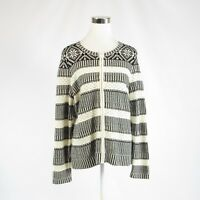 Ivory black geometric cotton TALBOTS zip front long sleeve full sweater L