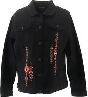 DG2 Diane Gilman Embroidered Signature Jacket BLACK M NEW 697-431