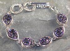 Titanium Druzy Teardrop Bracelet Wb11412 Silver Elegant Purple Blue Rainbow