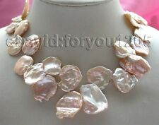 "17"" Genuine Natural 22x30mm Pink Reborn Keshi Petal Pearl Necklace 14k #f1290!"