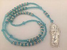 St Jude Blue Silver Rosary Necklace San Judas Rosario Sinaloense Azul Plata