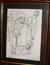 VINTAGE ABSTRACT NUDES PORTRAIT INK PAINTING SIGNED
