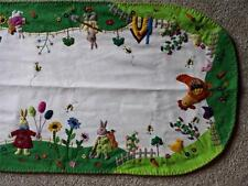 "64"" Hand made ROOSTER Chick RABBIT Bunny Applique Embroider EASTER TABLE RUNNER"