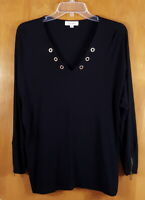 CALVIN KLEIN Size L Black VNeck Grommet Pullover Rayon Long Sleeve Top