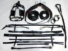 Plain Horse size Driving Cart Black Leather Harness Saddle & Breastplate style