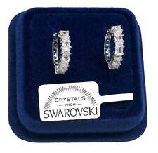 Cerchi 16mm Orecchini Uomo Donna pl.oro Bianco 18K con cristalli swarovski Argen