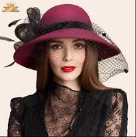 British Womens Brim Wool Felt Hat Cloche Derby Bowler Cap Dress Party CasualF674