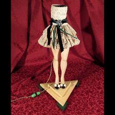 Vintage French Boudoir Doll Woman Torso Legs Skirt Lamp, Fabric Shade, Brooch