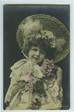 c 1907 Child Children CUTE GIRL in BONNET Traut binky photo postcard