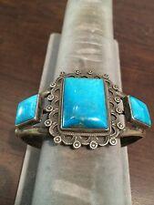 Navajo Sterling Silver Bracelet Beautiful Handmade Vintage Fox Turquoise