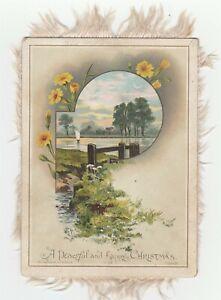 Vintage Christmas Card Lake Flowers Fringe Victorian Hildesheimer and Faulkner