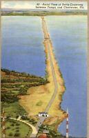 Aerial View Davis Causeway Tampa Clearwater FL Florida Linen Postcard Unposted