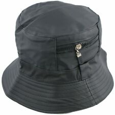 Shower Rain Resistant Quality Bucket Hat With Zip Up Pocket Feature BLACK