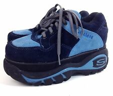 Skechers Sneakers Platform Shoes Kids Size 2.5 US 34 EUR Blue Suede Leather