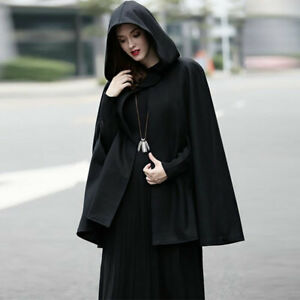 Women Hoodie Batwing Cloak Cape Coats Witch Cosplay Poncho Jacket Hooded Outwear
