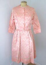 Vgc Vtg 50s Rockabilly Pink Satin Swirl Brocade 2-Pc Jacket Swing Dress Suit M