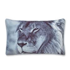 Catherine Lansfield Lion Monochrome Velvet Filled Cushion, Grey, 30 x 50 Cm