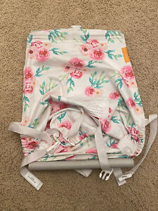 Binxy Baby Shopping Cart Hammock, White w/ Pink Flowers