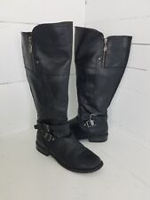 G by Guess Black Leather Boots Womens 7 Tall Knee High Zip Up Buckles Riding