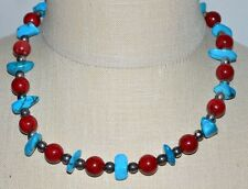 Faux Coral Bead Necklace Choker Vtg Silver Tone Genuine Turquoise