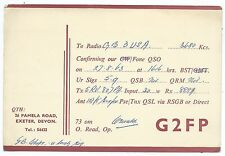 DEVON - EXETER, 1963 QSL Radio Transmission Confirmation Card G2FP