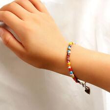 Boho Multicolor Bead Heart Pendant Bracelets Bangle Charm Women Jewelry GifZT