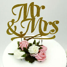 Mr and Mrs Cake Toppers - Glittery Gold Wedding Cake Topper, Hen Party Accessory