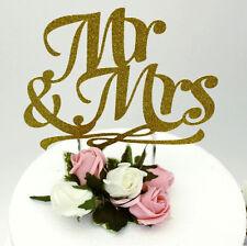 Signor e la signora DECORAZIONI PER TORTA-glitterate oro per torta nuziale, HEN PARTY ACCESSORIO