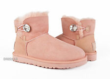 UGG Mini Bailey Button Bling Pink Dusk Suede Fur Boots Womens Size 7 *NEW*