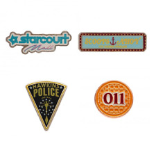 More details for stranger things pin badges x 4 starcourt mall, eggo, hawkins police, scoops ahoy
