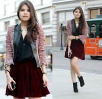 ZARA RARE BLAZER WITH FAUX LEATHER RED TWEED COMBINED BOUCLE COAT JACKET - M
