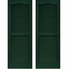 Set of 2 VANTAGE Exterior Louver Arch Shutters 14 x 51 Vinyl MIDNIGHT GREEN USA