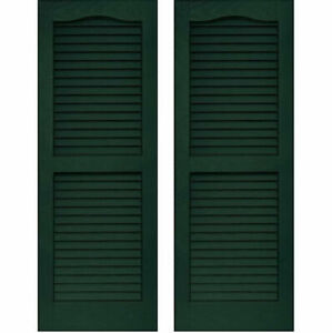 Set of 2 VANTAGE Exterior Louver Arch Shutters 14 x 51 Vinyl MIDNIGHT GREEN USA