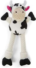 """Godog Sherpa 12"""" Skinny checkers Cow With Chew Guard Dog Toy Fetch Toss"""