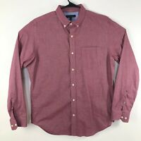 Banana Republic Large Soft Wash Slim Fit Button Front Long Sleeve Shirt Red