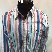 Nautica Blue Coral Stripe Pocket Button Down Long Sleeve XL NWT Z15