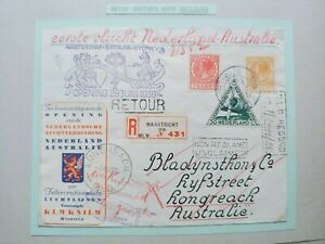1938 1ST REGISTERED FLIGHT COVER RETURNED NETHERLANDS-AUSTRALIA B132.22 $0.99