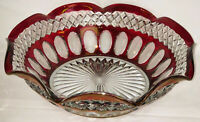 """Westmoreland WAKEFIELD RUBY FLASHED 11 1/2"""" FLAT CRIMPED BOWL*ARTIST SIGNED*"""