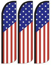 Usa Flag Stars Stripes Windless Standard Size Swooper Flag Sign Banner Pk of 3