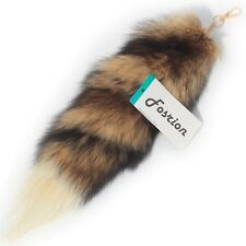 Fashion Fox Tail Fur Leather with Hair Red Background White Tip Cosplay Toy