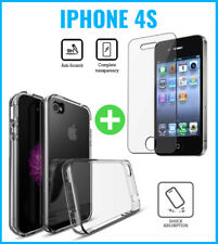 Transparent Gel Case Cover Cas + Screen Protector Tempered Glass For iPhone 4S