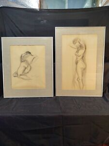 Pair Female Nude Pencil sketch mid century modern signed