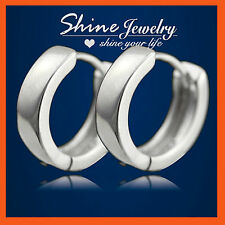 18K PLAIN WHITE GOLD GF SILVER MENS WOMENS GIRLS HOOP HUGGIES SLEEPER EARRINGS