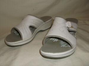 Clarks Collection Soft Cushion White Wedge Slip On Slide Sandals Sz 9 M