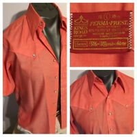 Sears Kings Road 70s Pink Salmon Western Gabardine Disco Shirt Men L Pearlsnap