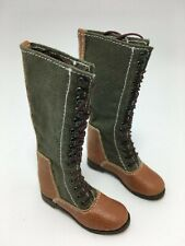 1/6-Scale- MILITARY-2 TONE AND MATERIAL HIGH BOOTS-GREEN AND BROWN, FULL TIE.WOW