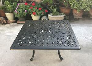 """Patio coffee table square 36"""" Elisabeth cast aluminum outdoor furniture Bronze"""