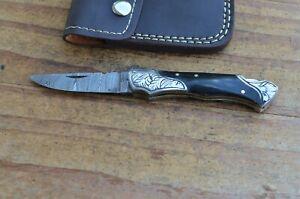 damascus custom made folding pocket knife From The Eagle Collection U3830c