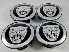 NEW Set of 4x Jaguar Center Wheel Hub Caps 59MM Black/Chrome S-type X-Type XJR