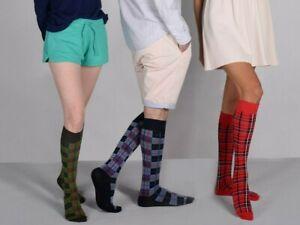 Mysocks Tartan Knee High Socks Seamless Toe Combed Cotton
